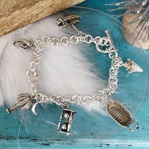 Sterling Charm Bracelet So Carolina Palm Shrimp